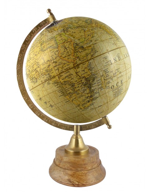 Light Yellow World Map Geography Table Top Earth 8 Inches Diameter