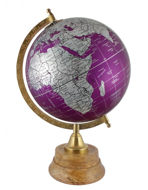 Educational Globe Geography Table Top Metallic Purple Earth 8 Inches Diameter