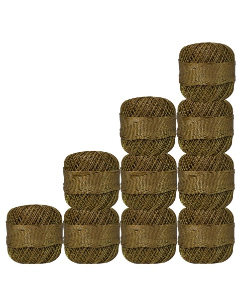 Lot of 10 pcs Gold Metallic Olive Green cotton crochet thread knitting yarn doilies craft
