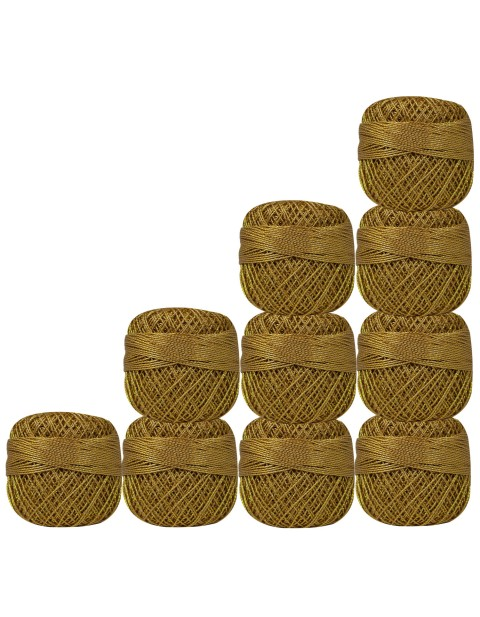 Set of 10 pcs Gold Metallic Olive Green cotton crochet thread knitting yarn doilies craft