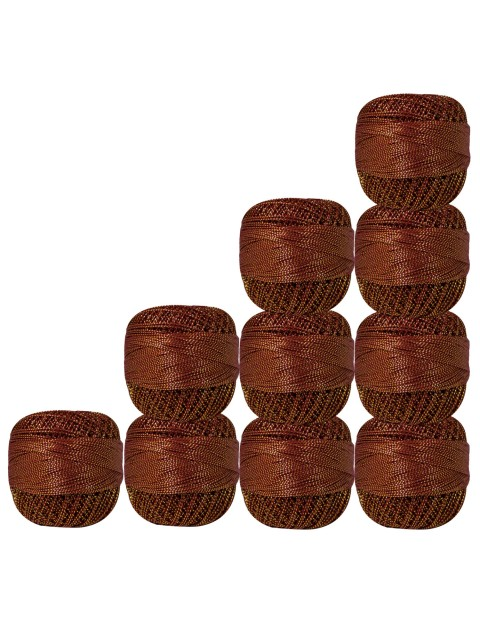 Pack of 10 pcs Gold Metallic Maroon cotton crochet thread knitting yarn doilies craft