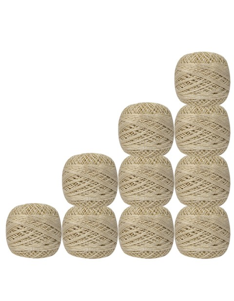 Pack of 10 pcs Gold Metallic White cotton crochet thread knitting yarn doilies craft