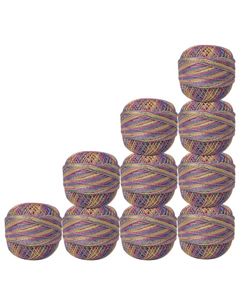 Bunch of 10 pcs Silver Metallic Multicolor cotton crochet thread knitting yarn doilies craft