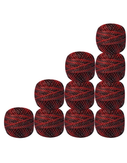 Set of 10 pcs Silver Metallic Brown & Red cotton crochet thread knitting yarn doilies craft