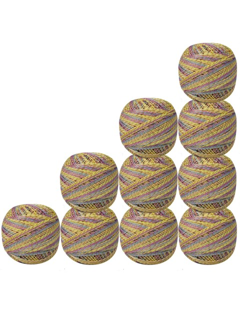 Set of 10 pcs Gold Metallic Multicolor cotton crochet thread knitting yarn doilies craft