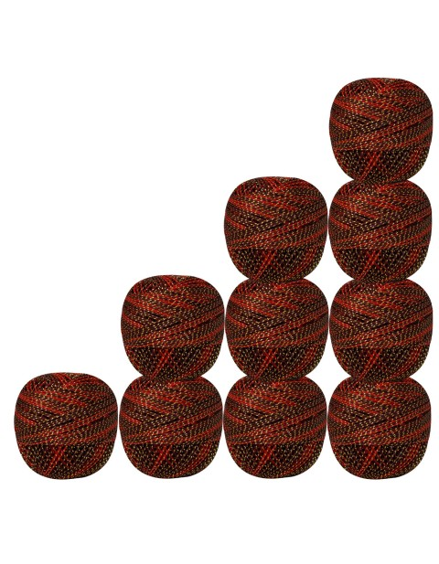 Pack of 10 pcs Gold Metallic Brown & Red cotton crochet thread knitting yarn doilies craft