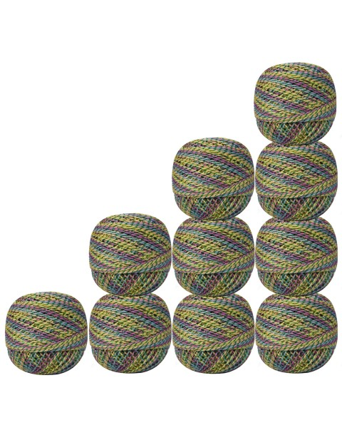 Pack of 10 Pcs Gold Metallic Multicolor Cotton Crochet Thread Knitting Yarn Doilies Craft