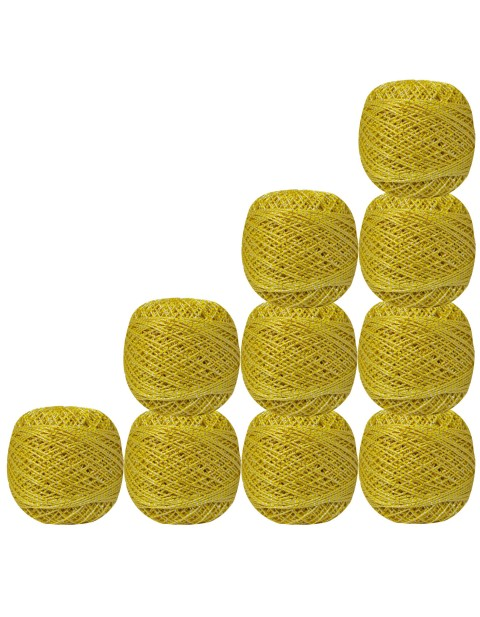 10 Pcs Silver Metallic Yellow Cotton Crochet Thread  Knitting  Yarn Tatting Doilies Skeins Lacey Craft