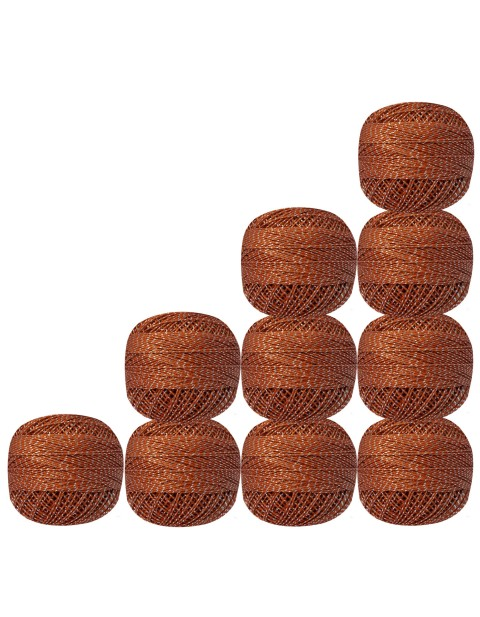 Pack of 10 Balls  Silver Metallic Brown Cotton Crochet Thread Yarn Tatting Doilies Lacey Craft