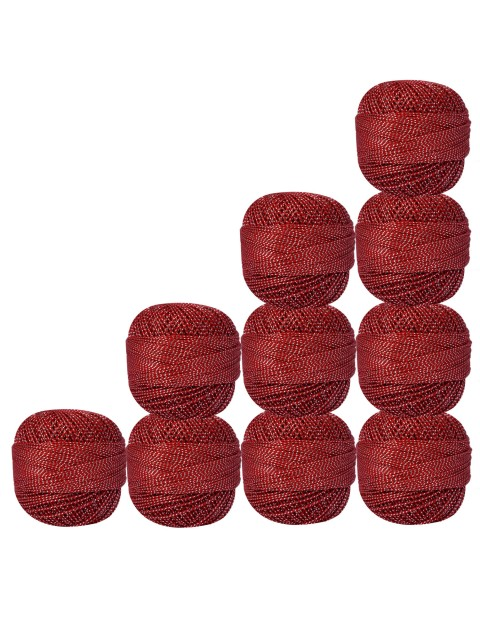 Bunch of 10 Pcs Silver Metallic Red Cotton Crochet Thread Knitting Yarn Doilies Craft