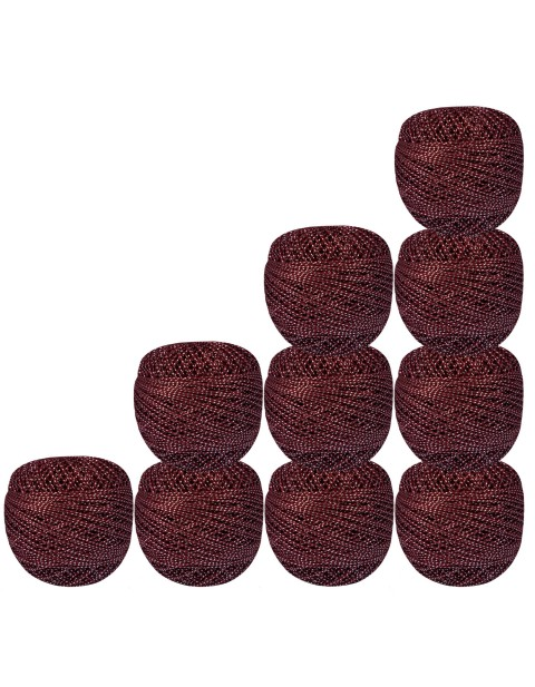 Bunch of 10 pcs Silver Metallic Maroon cotton crochet thread knitting yarn doilies craft