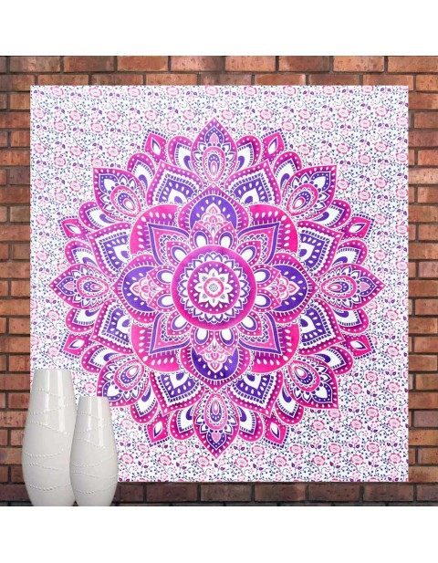 Mandala Tapestry Pink Bedspread Hippy Picnic Curtain