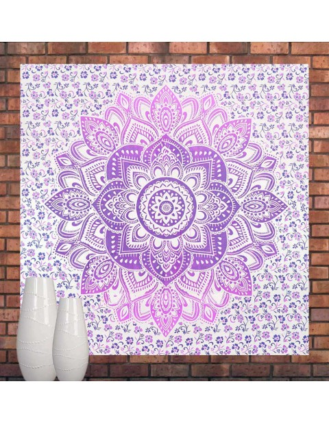 Pink & Purple Large Ombre Mandala Tapestry Bedspread