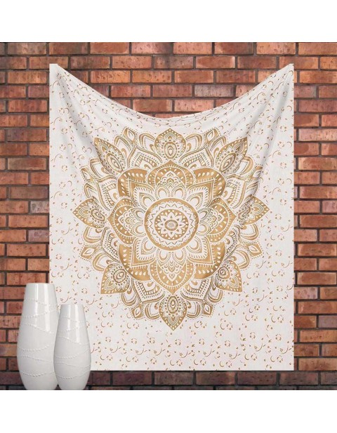 Gold Ombre Mandala Tapestry Bedspread Picnic Curtain