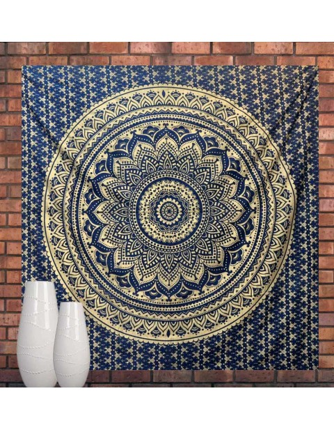 Gold Ombre Mandala Tapestry Navy Blue Bedspread