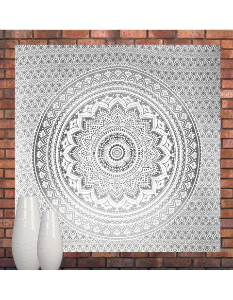Silver Ombre Mandala Tapestry Bedspread Queen Size
