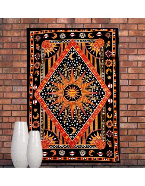 Psychedelic Celestial Sun Moon Tapestry Planet Bohemian