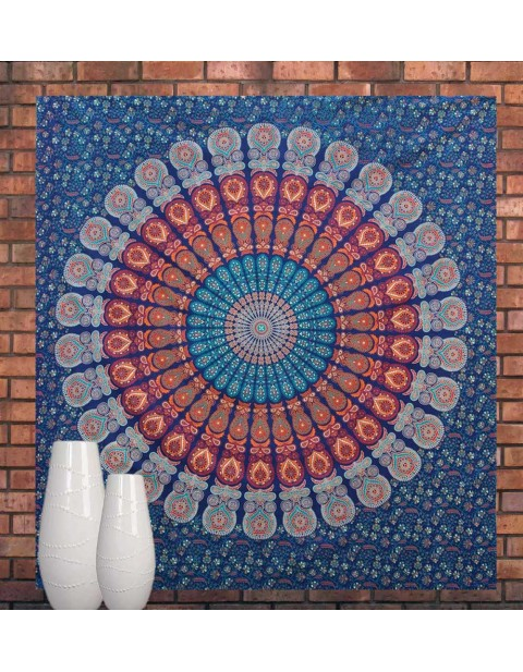 Multicolor Cotton Tapestry Mandala Bed Sheet Tapestry