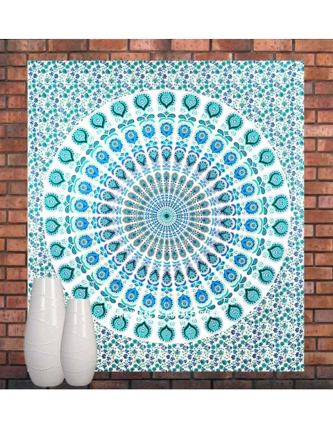 Turquoise Blue Ethnic Bohemian Wall Art Cotton Tapestry
