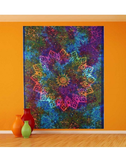 Multicolor Indian Wall Hanging Kaleidoscopic Star Tapestry