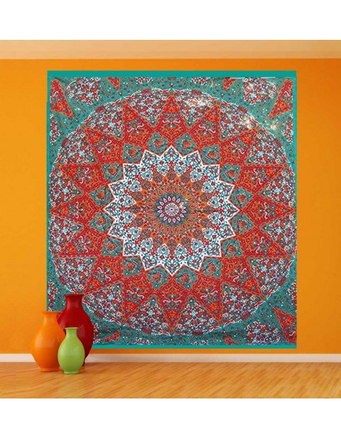 Orange Tapestry Wall Hanging Kaleidoscopic Star Tapestry