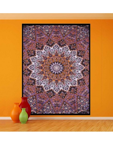 Purple & Mustard Indian Wall Hanging Kaleidoscopic Star Tapestry