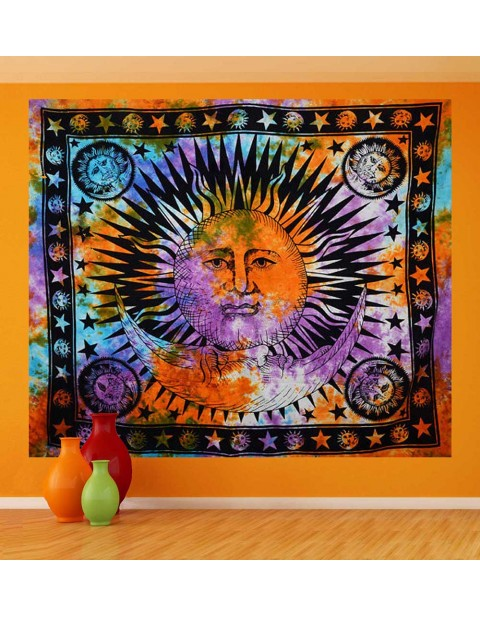 Multicolor Sun and Moon Tapestry