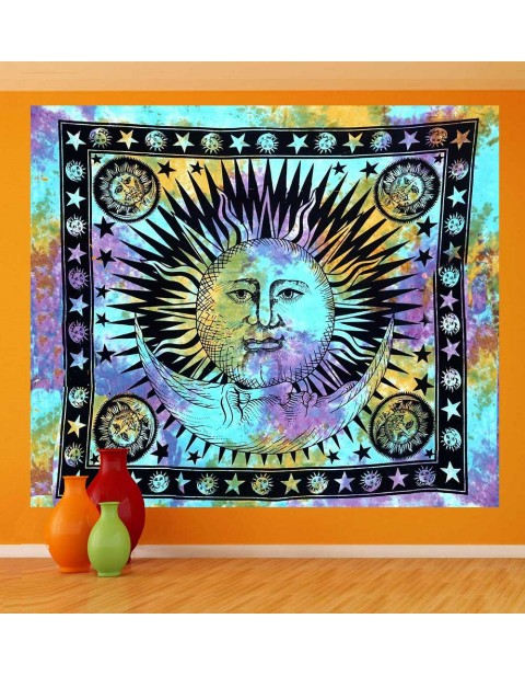 Sun and Moon Flat Bed Sheet Tapestry