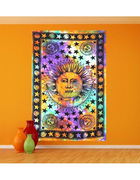 Sun and Moon Multicolor Sheet Coverlet Tapestry