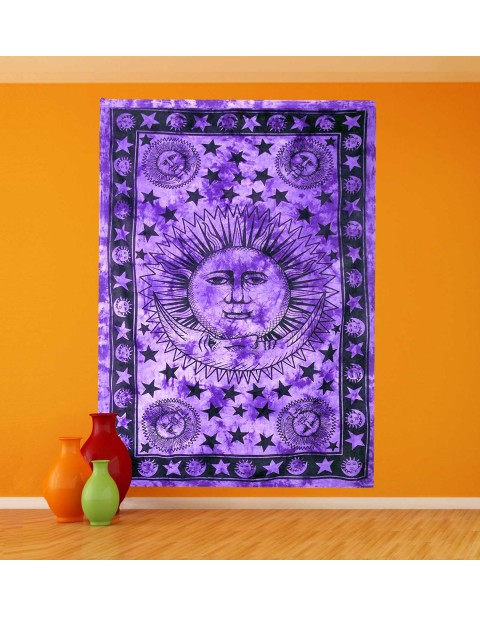 Purple Sun and Moon Tapestry