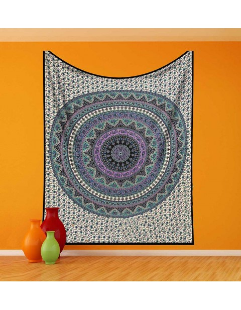 Blue Purple Tapestry Bohemian Floral Design Tapestry