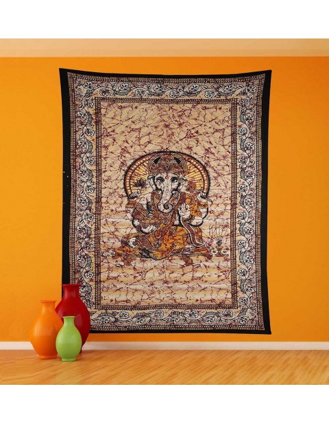 Lord Ganesha Floral Border Multicolor Tapestry