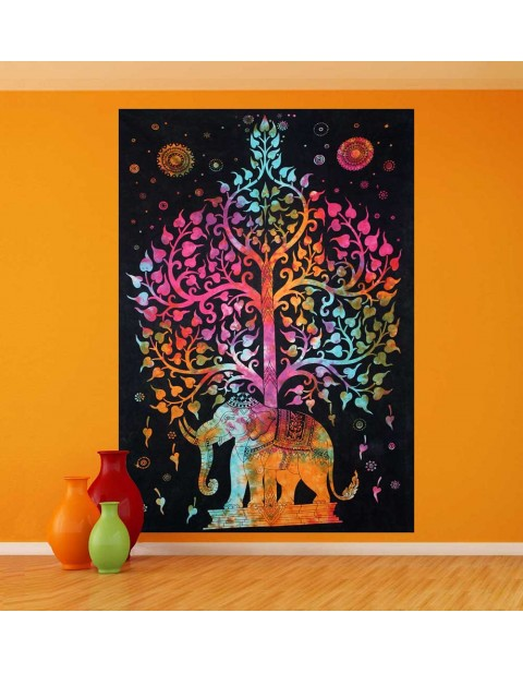 Tree of Life Wall Hanging Elephant Tapestry