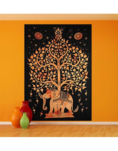 Tree of Life Tapestry Wall Hanging Elephant Tapestry