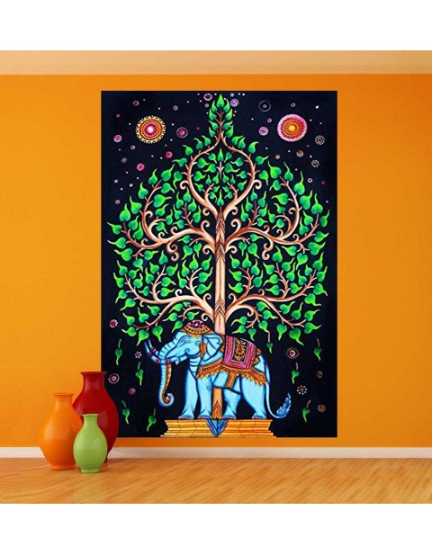 Indian Tree of Life Wall Hanging ElephantTapestry